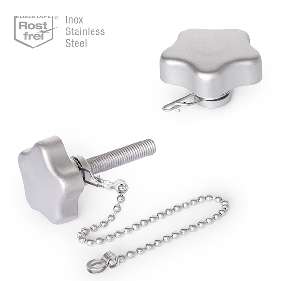 GN 5334.13 Stainless Steel-Star knobs with loss protection