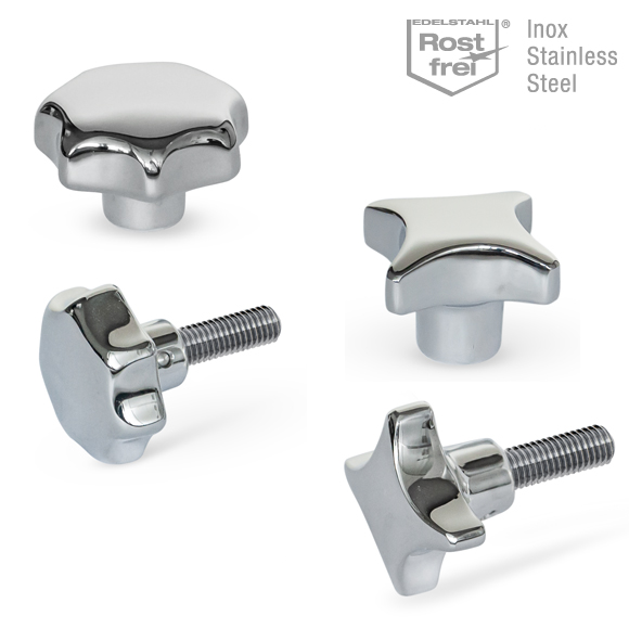 star knobs and hand knobs in Stainless Steel A4