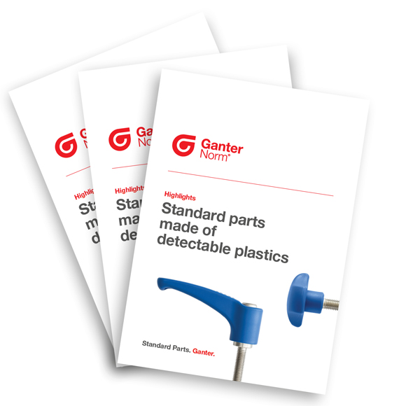 Standard parts made of detectable plastics