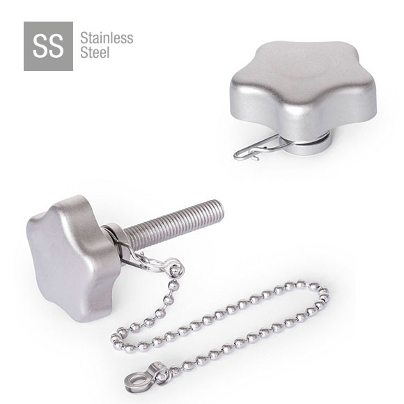 AISI 316 Stainless Steel Star Knobs with Loss Protection GN 5334.13
