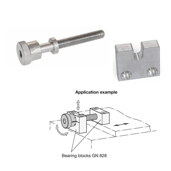 Adjusting Screws GN 827 and Bearing Blocks GN 828