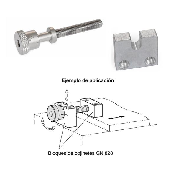 Tornillos de ajuste GN 827 y bloques de cojinete GN 828
